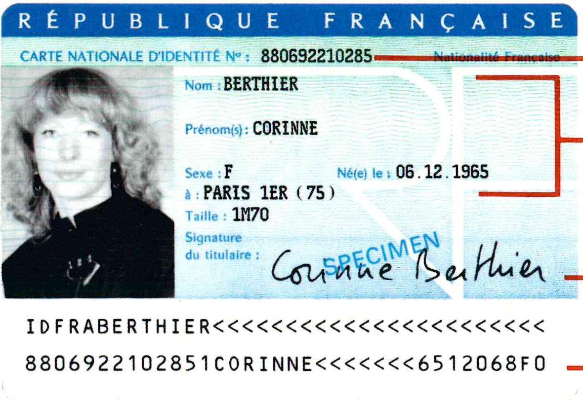 numéro national carte d identité française Carte Nationale d'Identité   Vergéal
